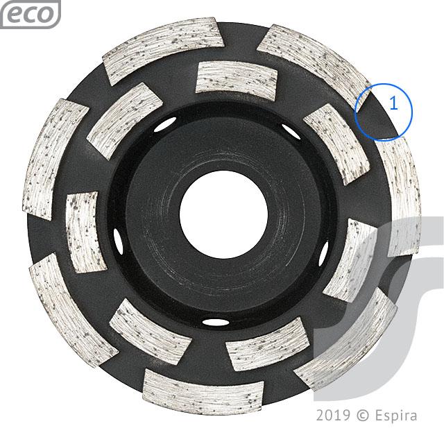 Алмазная двухрядная чашка SGDF Eco 100 Ø100*22.23*5.5